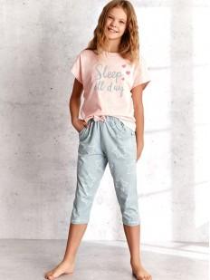 Детская пижама для девочек со штанами капри и футболкой