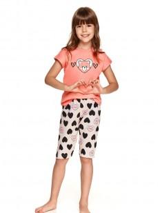 Пижама для девочек с удлиненными шортами и принтом в сердечки