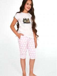 Пижама для девочек со штанами капри в крупный горошек и принтованной футболкой