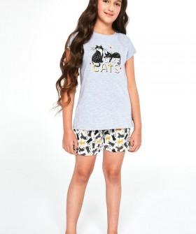 Детская хлопковая пижама с котиками для девочек