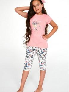 Хлопковая пижама для девочек с цветочными бриджами и розовой футболкой