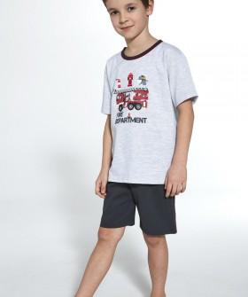 Детская пижама с шортами для мальчиков: принт пожарная машина