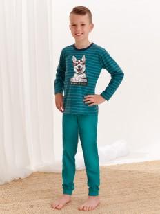 Детская хлопковая пижама для мальчиков с принтом хаски на кофте