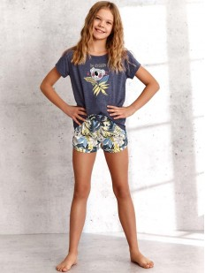 Летняя пижама для девочек с принтованными шортами и футболкой