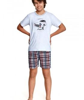 Подростковая пижама для мальчиков с клетчатыми шортами и футболкой