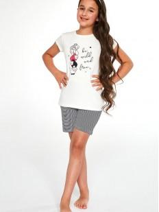 Детская пижама для девочек с шортами и футболкой: принт с овечками