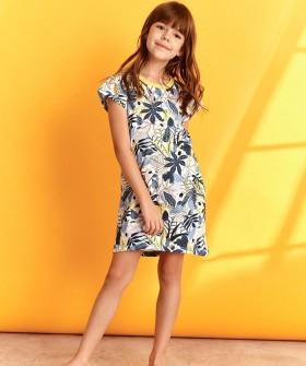 Летняя сорочка для девочек с цветным рисунком и коротким рукавом