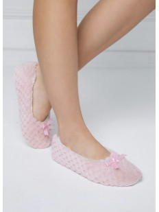 Женские домашние тапочки с бантиками розовые