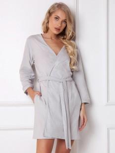 Короткий женский домашний халат из хлопка серый