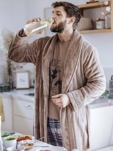 Флисовый бежевый мужской халат