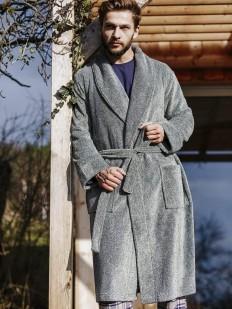 Флисовый серый мужской халат