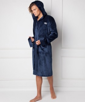 Мужской домашний махровый халат с капюшоном