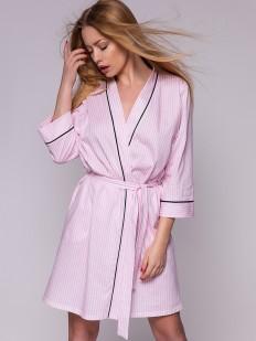 Женский домашний розовый халат из хлопка в полоску