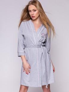 Женский хлопковый домашний халат серый с карманами