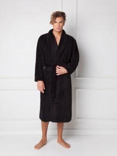 Мужской домашний махровый халат черный