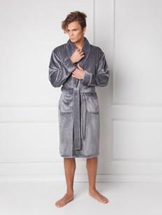 Мужской домашний махровый халат серый