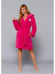 Женский махровый домашний халат с капюшоном розовый