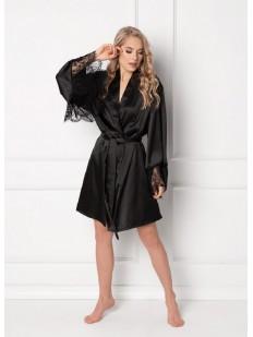 Атласный женский черный халат с широким кружевным рукавом