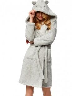 Женский теплый махровый халат с капюшоном и ушками