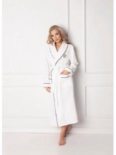 Длинный женский белый халат из хлопка