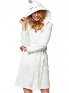 Теплый женский пушистый халат с капюшоном сова