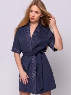 Женский домашний летний халат их хлопка темно-синий