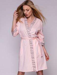 Розовый женский домашний халат из хлопка с принтом зебра