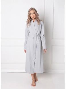 Длинный домашний серый женский халат хб с карманами