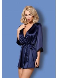 Женский синий атласный халат и стринги в комплекте