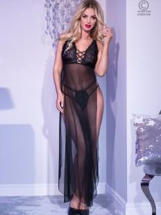 Длинное черное эротическое платье с высокими разрезами