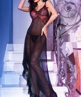Черная длинная эротическая сорочка из прозрачного тюля