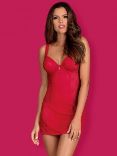 Красная эротическая сорочка из эластичного материала с кружевом