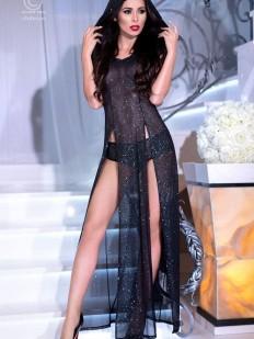 Черное эротическое блестящее платье с капюшоном и разрезами