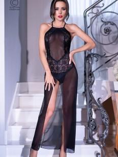 Черная длинная эротическая сорочка из прозрачного тюля с высоким разрезом