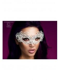 Белая эротическая маска с атласными лентами