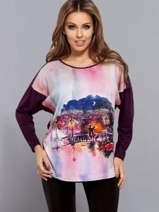 Женская футболка лонгслив свободного кроя с ярким принтом