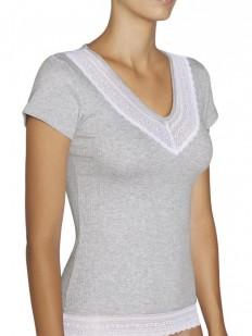 Женская хлопковая футболка с кружевной отделкой