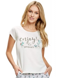 Женская домашняя летняя футболка из хлопка с принтом кактус