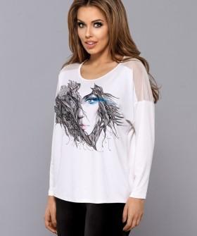 Женская футболка лонгслив свободного кроя с принтом