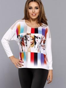 Женская футболка лонгслив свободного кроя с цветным принтом