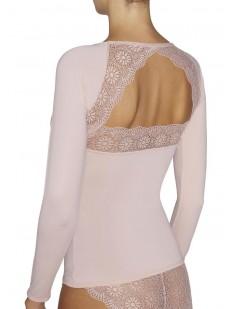 Женская футболка лонгслив с открытой кружевной спинкой