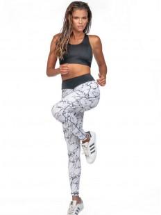 Спортивные белые леггинсы для фитнеса с мраморным принтом
