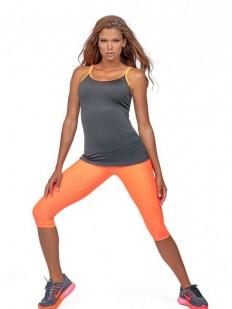 Черная спортивная женская майка для фитнеса на цветных бретелях