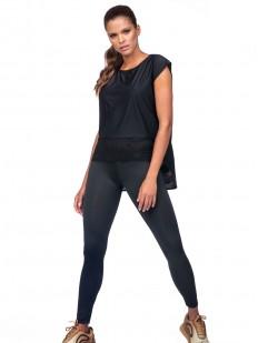 Спортивная черная женская футболка свободного кроя с сеточкой