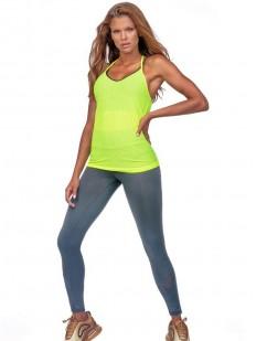 Салатовая спортивная женская майка для фитнеса
