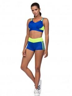 Спортивные синие женские шорты для фитнеса с неоновым поясом
