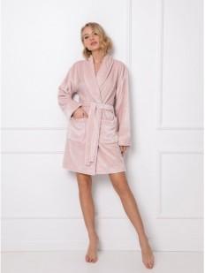 Теплый розовый женский халат с сатиновым блеском