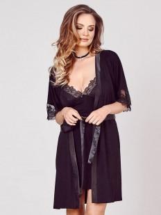 Элегантный женский летний халат из вискозы с кружевным рукавом