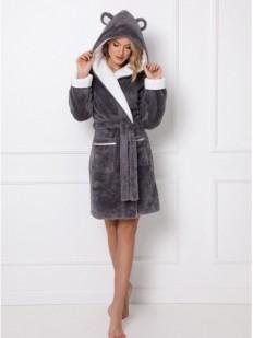 Теплый женский халат с ушками плюшевого мишки на капюшоне