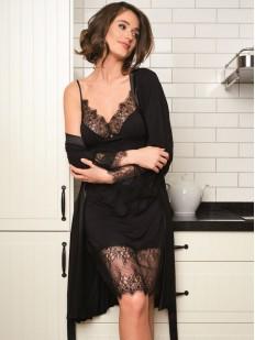 Элегантный женский халат из вискозы с кружевом